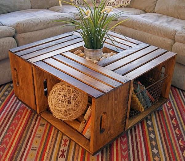 Artesanato em madeira de caixote