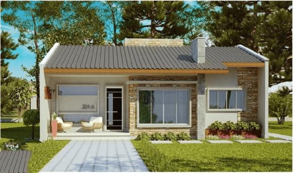 casa bonita bem pequena com lindo gramado frontal
