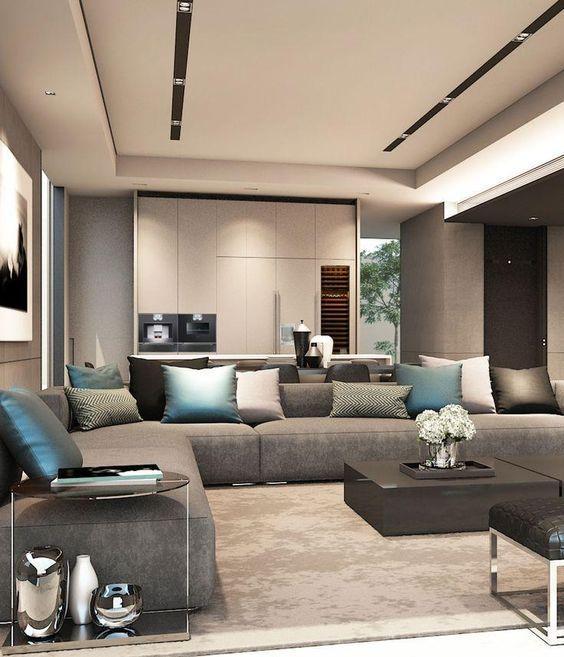 casa maravilhosa e seu interior com sofás cinzas