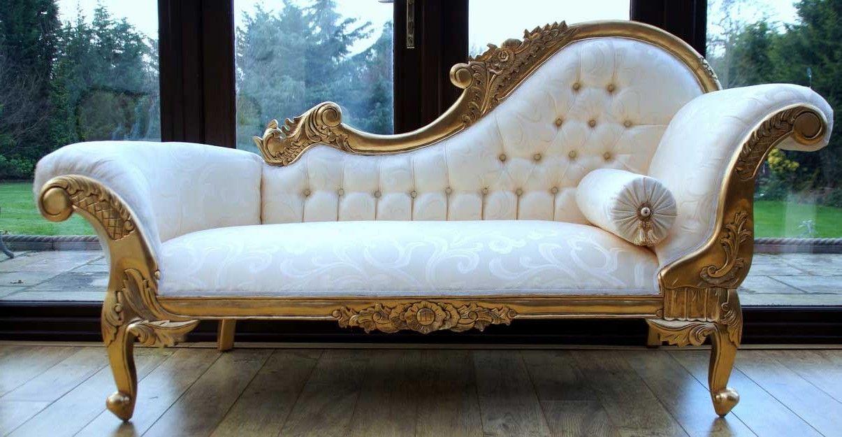 Recamier clássico dourado e branco