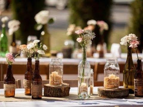 Decoração rustica simples com garrafas