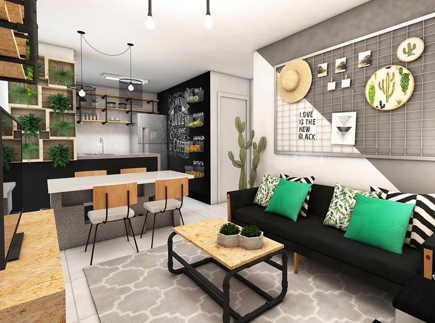 Enfeites para sala de estar planta e quadros