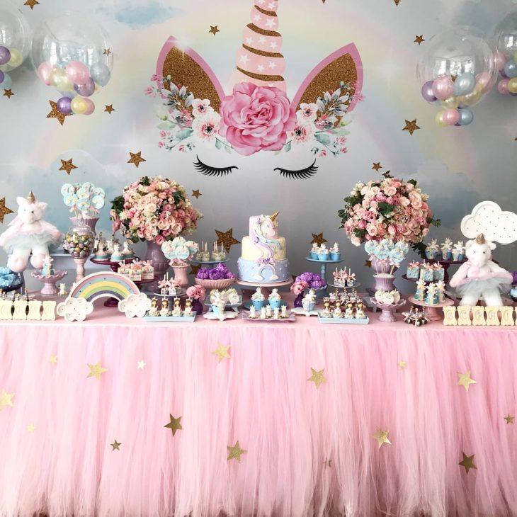 Festa unicórnio painel rosa
