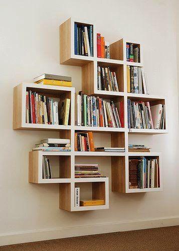 estante de madeira de parede para livros