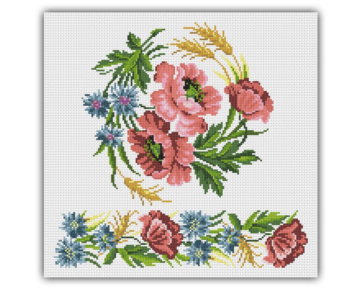 Ponto cruz flores de canto