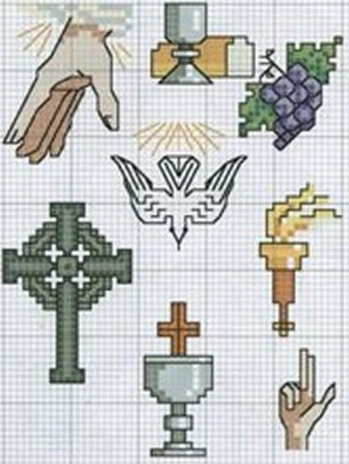 Ponto cruz para batizado