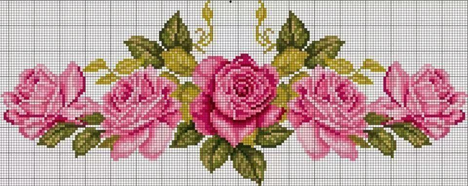 Ponto cruz rosas