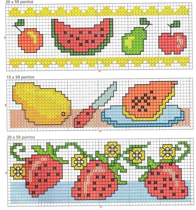 Ponto cruzem formato de frutas