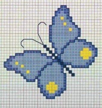 borboleta azul em ponto cruz