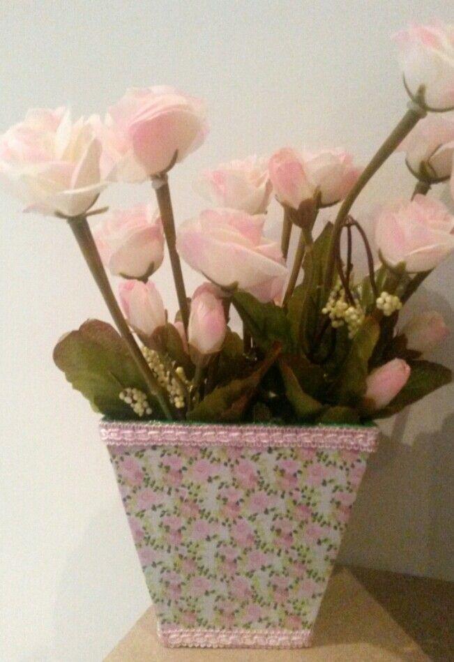 cachepot em mdf pintado em rosa