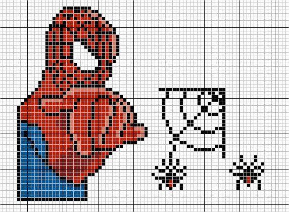 homem aranha feito em ponto cruz