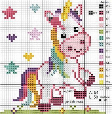 lindo unicornio em ponto cruz