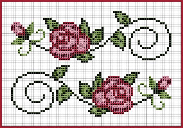 rosas feitas em ponto cruz