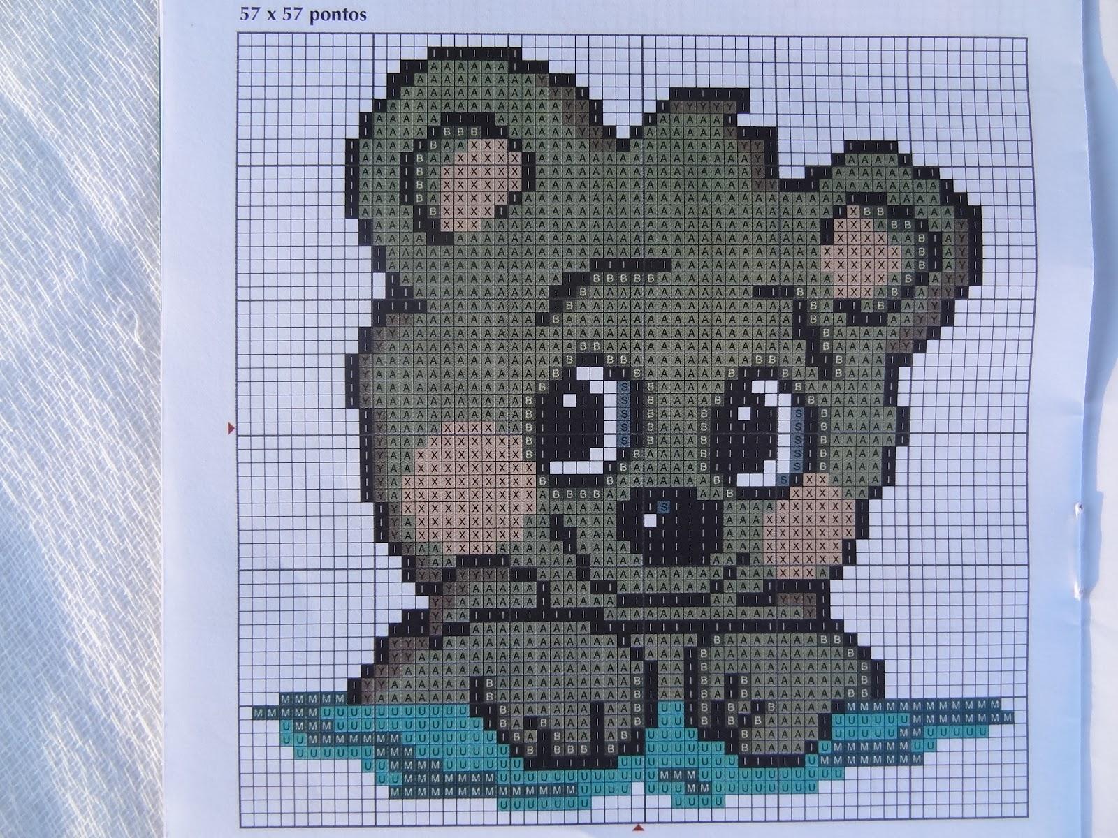 rosto do ursinho em ponto cruz