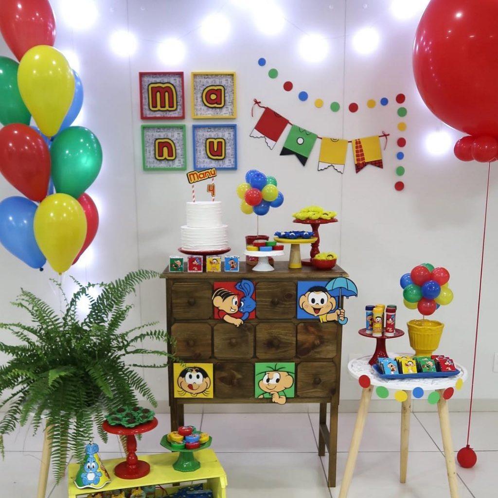 Balões na decoração da mônica