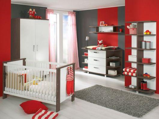 Cinza e vermelho na pintura do seu quarto