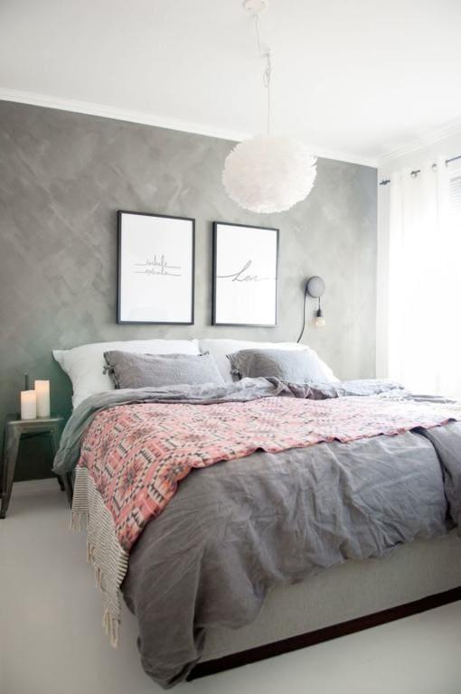 Mistura de cinza com rosa no quarto