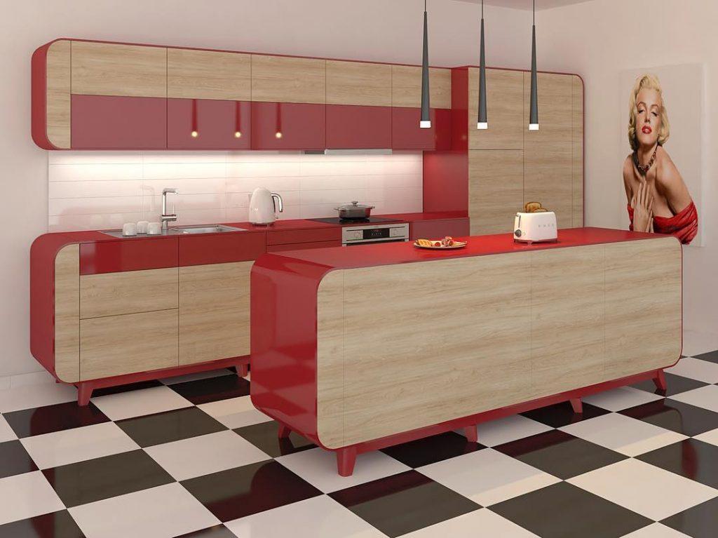 Mistura de vermelho com marrom na cozinha