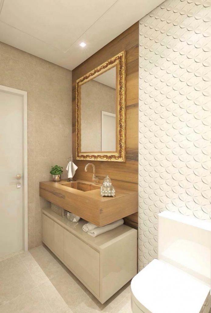 Porcelanato de madeira no banheiro com espelho