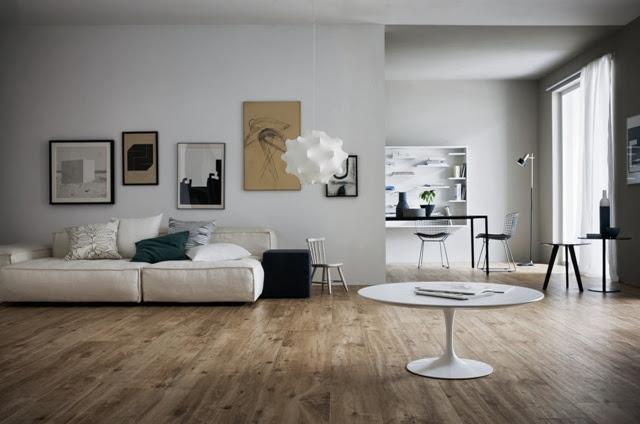 Porcelanato mais claro de madeira para a sua sala