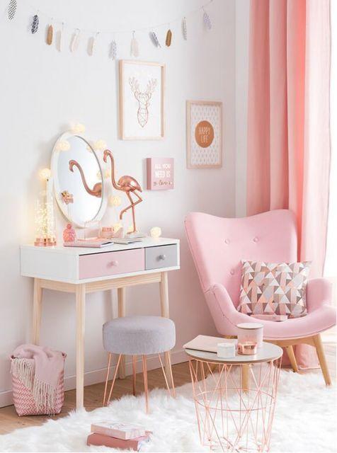 Rose gold e cinza no quarto
