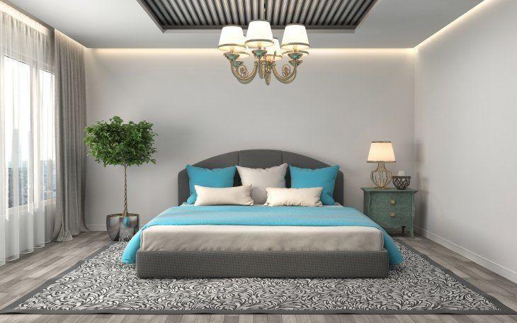 Tons de azul com cinza no quarto