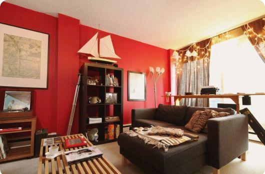 Tons de vermelho para parede da sala