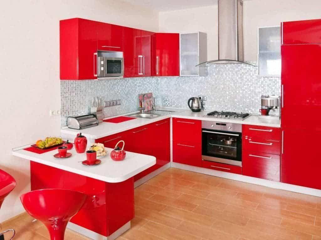Vermelho na cozinha em tom mais claro