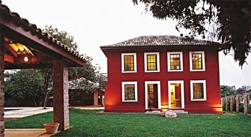 Vermelho na parte exterior da casa