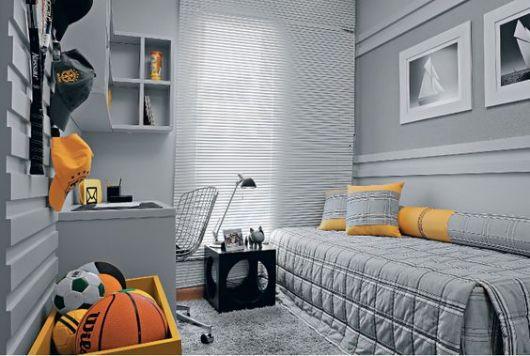 cinza decorando quarto masculino