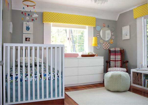 lindo quarto de bebe pintado em cinza