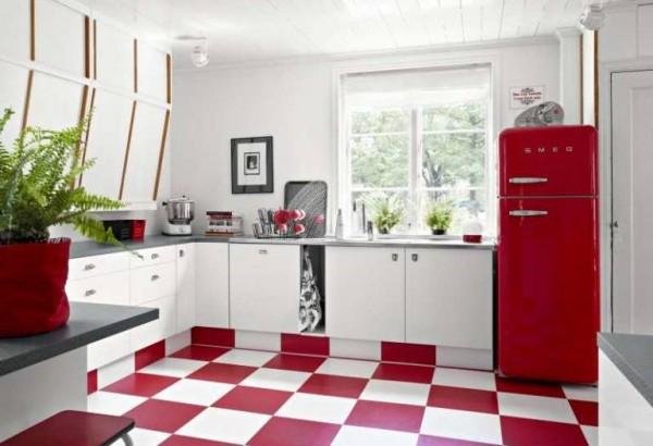 pisos em vermelho na cozinha combinando com branco
