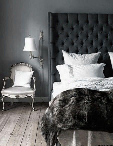 quarto cinza e preto