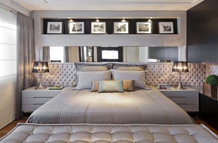 quato cinza com cama de casal