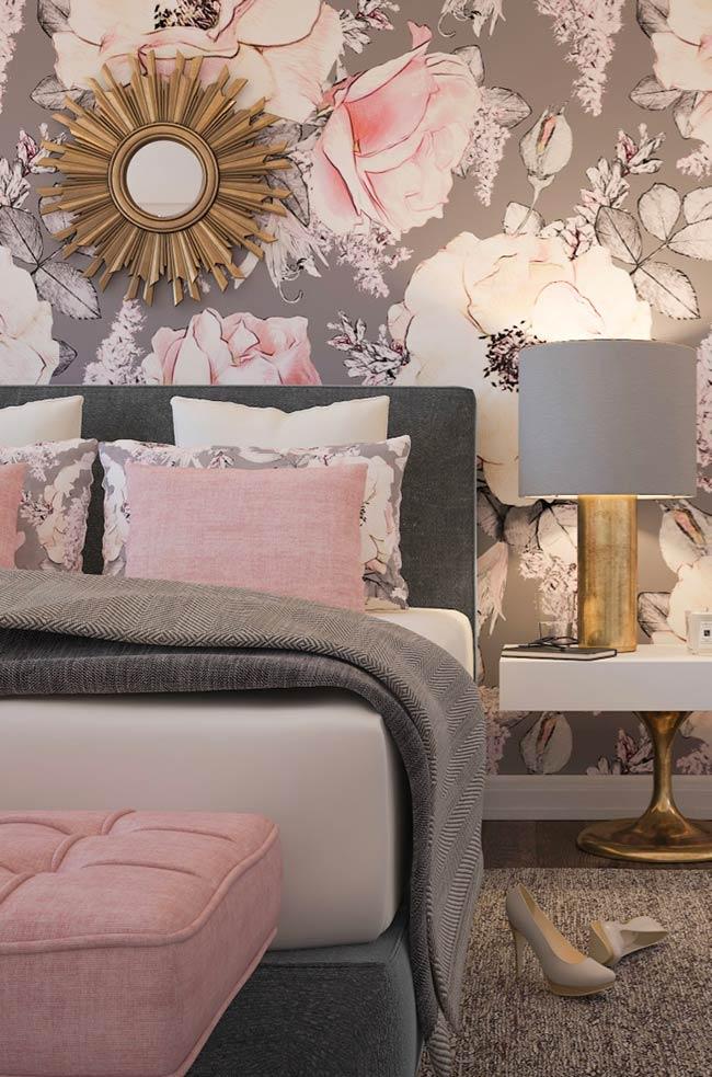 rose gold e cinza no seu quarto