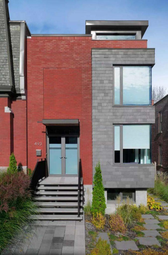 vermelho tijolo no exterior da casa