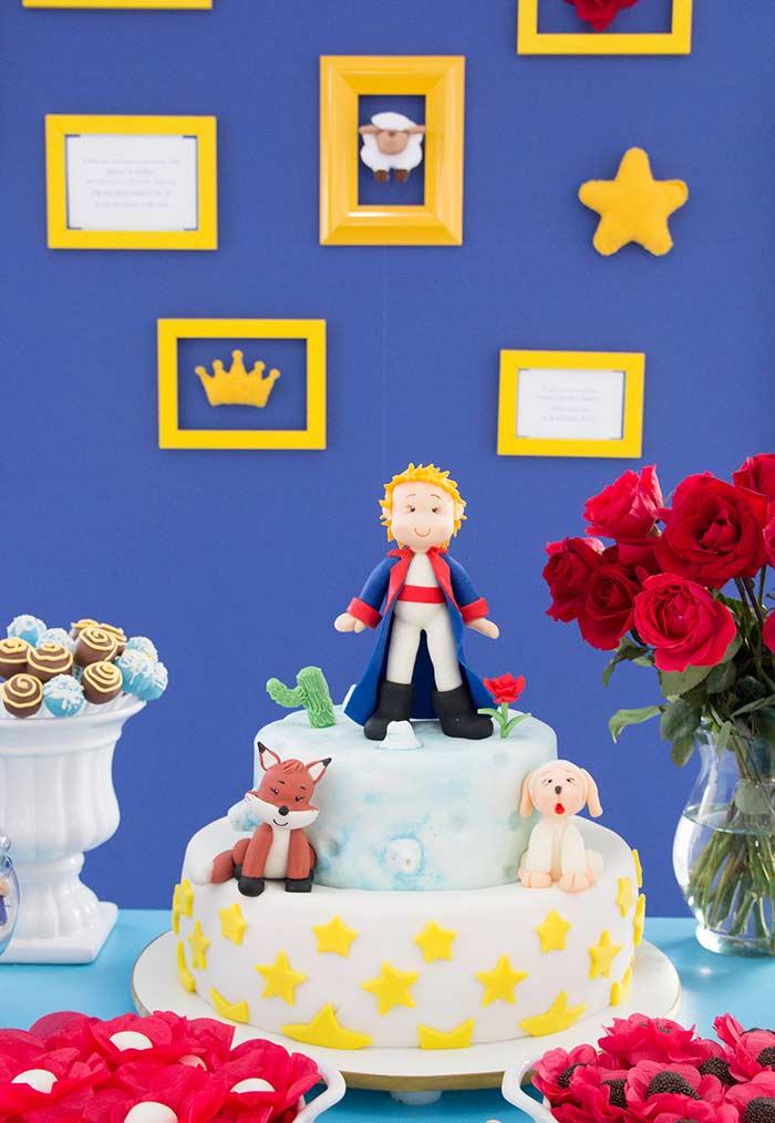 Festa pequeno príncipe azul e dourado