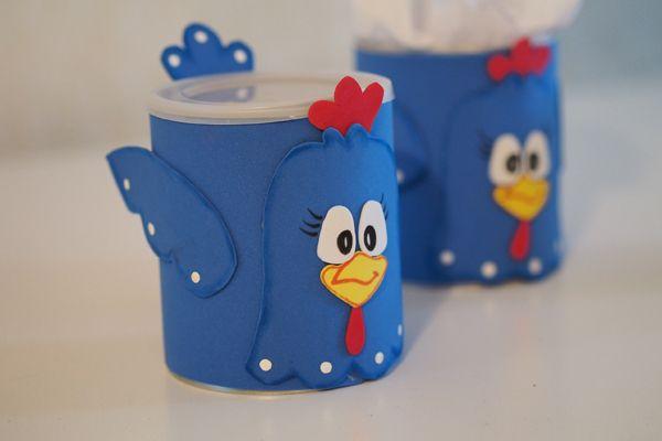 galinha pintadinha em latas de leite e eva
