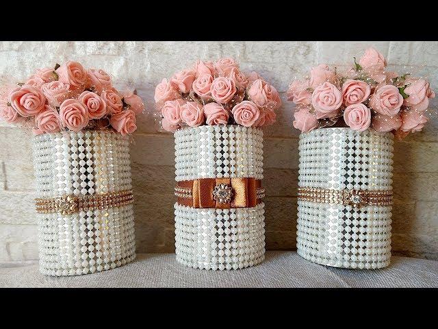 latas de leite decoradas com perolas e flores