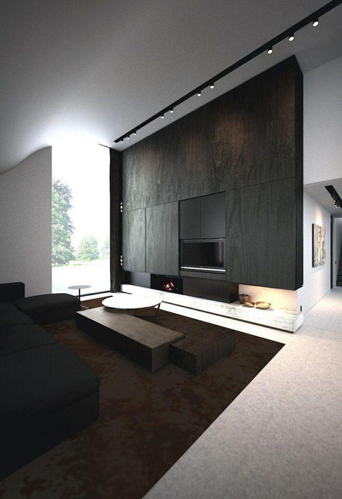 madeira escura em uma unica parede na sala