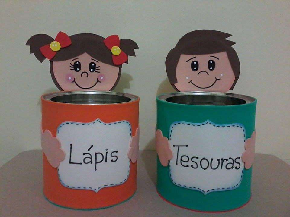 porta materiais em latas de leite e eva