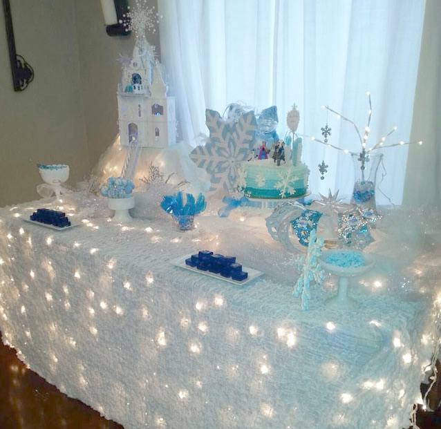 Colocando as luzes por debaixo da toalha na mesa