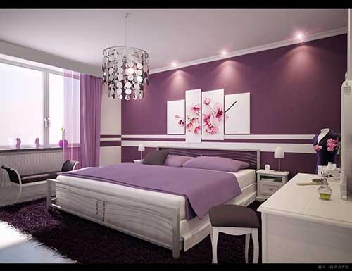 Faixas brancas e pintura lilás forte no quarto