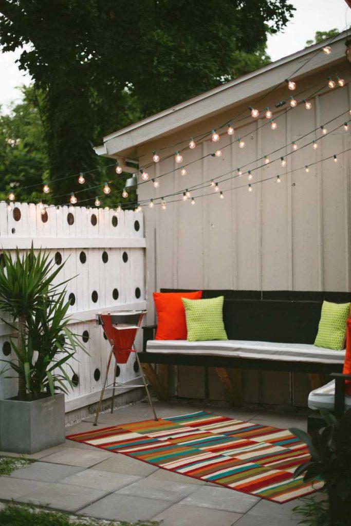 Luzes suspensass na varanda