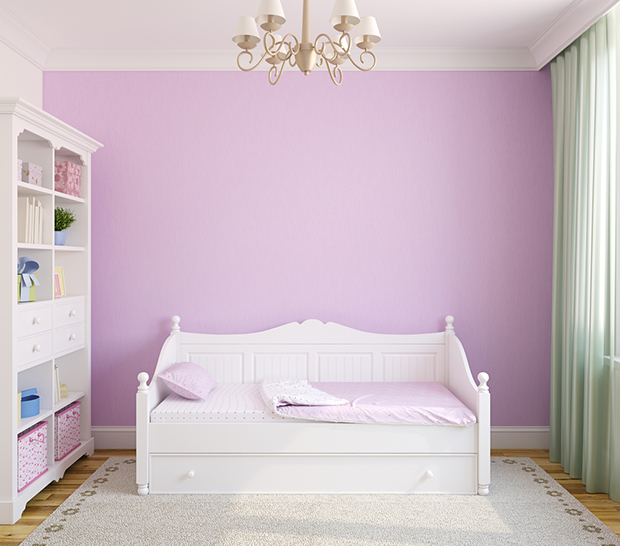 Parede pintada em lilás