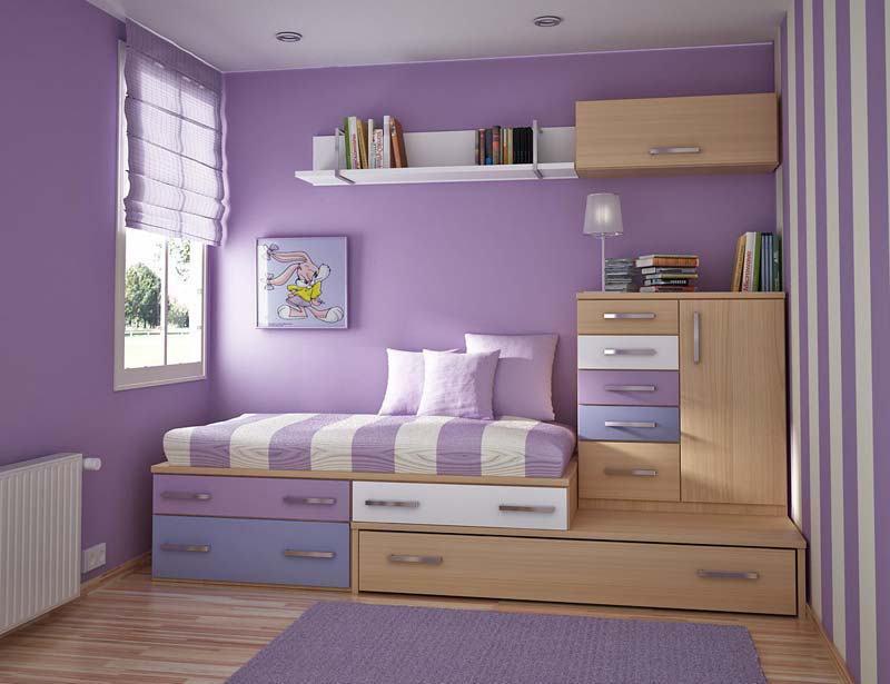 Pintura e decoração em lilás no quarto infantil