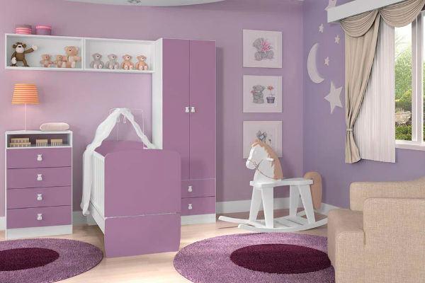 Pintura em lilás no quarto de criança
