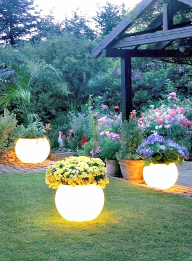 Vasos no jaridm iluminados com luz de led