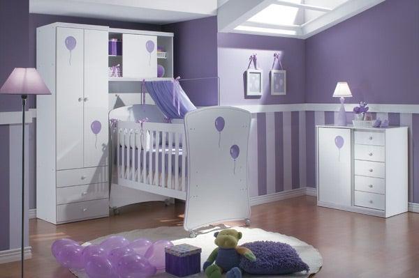 ambiente para bebês pintado em lilás