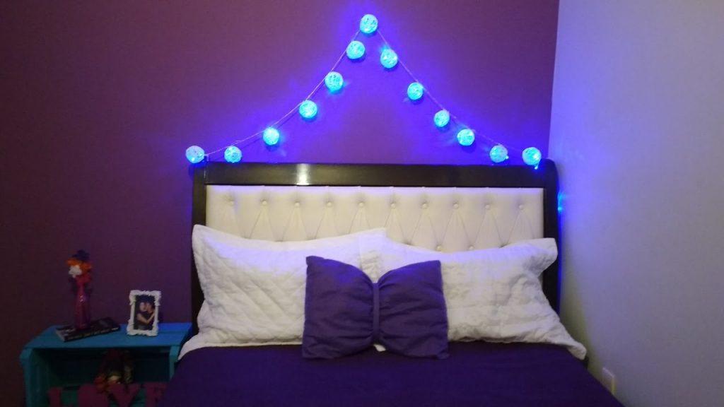 luzes decorativas usadas perto da sua cama